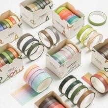 Mohamm 7 pièces Simple petit bricolage frais décoration Washi ruban de masquage créatif Scrapbooking fournitures scolaires