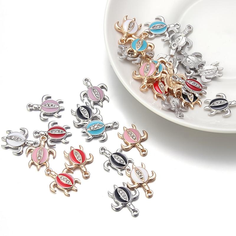 2021 Fashion Rhinestone Sea Turtle Charms Pendant For Bracelet Jewelry Making Alloy  Pendant Craft A