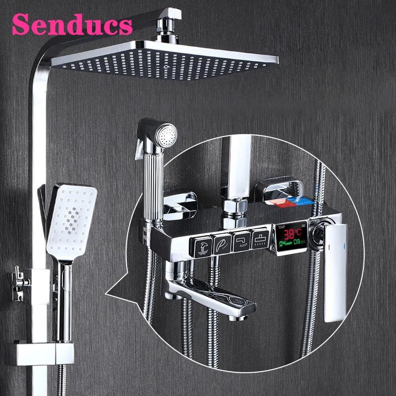 أدوات دش الرقمية Senducs مصقول الكروم الحمام دش خلاط مجموعة جودة النحاس صنبور حوض استحمام الساخن الباردة الذهب دش مجموعة