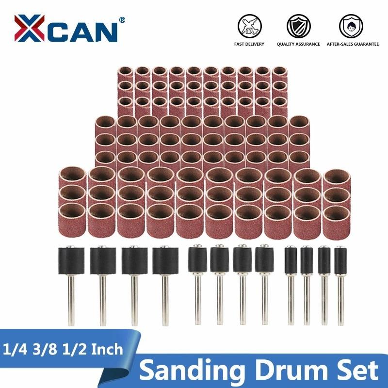 Juego de tambor de lijado de disco abrasivo de 1/4 3/8 1/2 pulgada con mandriles de lijado banda de lijado compatible con la herramienta rotativa Dremel