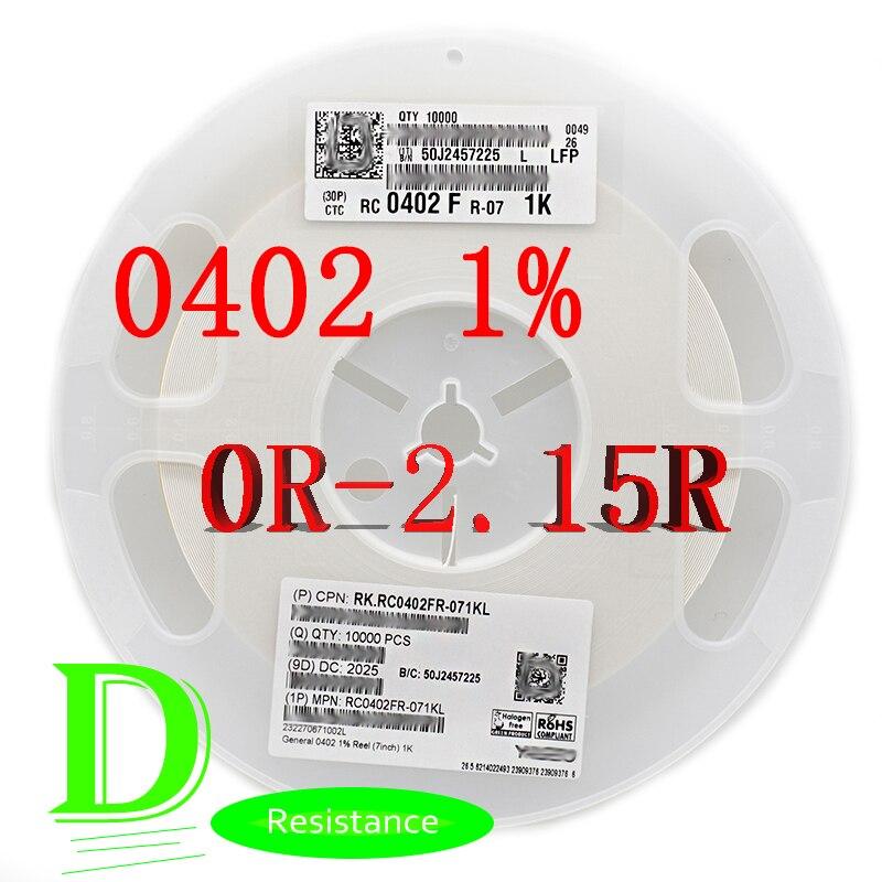 100PCS SMD Resistor RC Série 0402 1% Original RC0402FR-07 Série 0R-2.15R Todos Os resistores 0R 1R 1.1R 1.2R 1.3R 1.5R 1.6R 1.8R 2R
