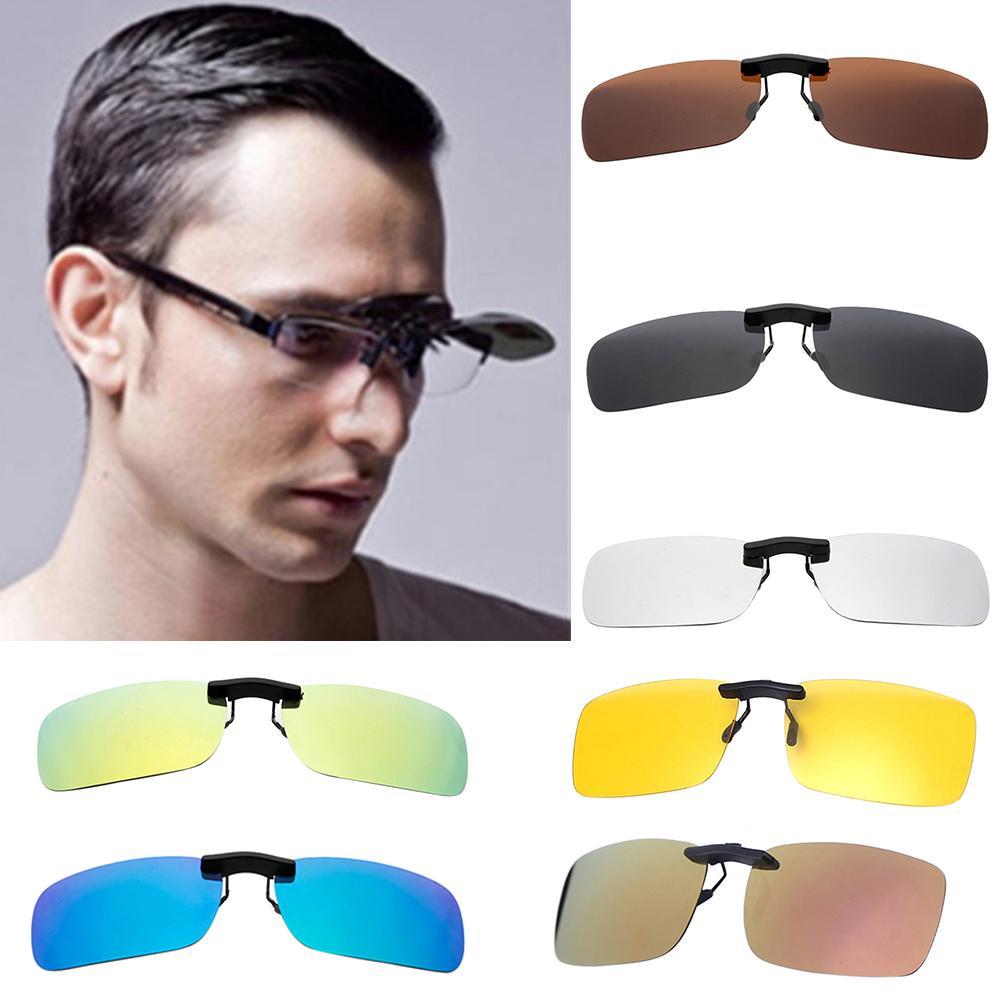 Gafas de sol polarizadas con Clip para conducir, visión nocturna 2020, gafas de sol cuadradas amarillas para mujer con ganchos Unisex