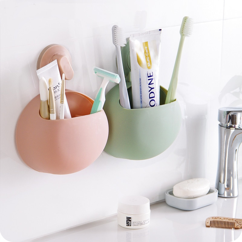 1Pc Home Bathroom Toothbrush Toothpaste Wall Mount Holder  Kitchen Sucker Wall-mounted Toothbrush Makeup Tools Suction Organizer