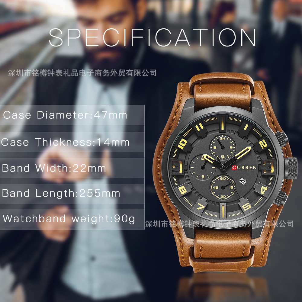 2021 top brand luxury men's watch male clock date sports military watch retro leather strap luminous quartz watch business gift enlarge