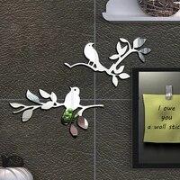 Autocollants muraux miroirs 3D branches doiseaux  2 pieces  Sticker mural amovible  decor de fete de mariage  decoration de maison  pour chambre denfant