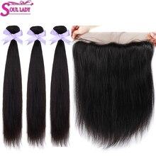 Mèches malaisiennes Remy avec Frontal-Soul Lady   Cheveux naturels, Lace Frontal Transparent, lisses, en lots