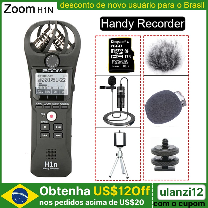Original ZOOM H1N Handy Recorder DSLR Audio Video Interview Stereo Microphone with 16GB Card BY-M1 Lavalier Microphone