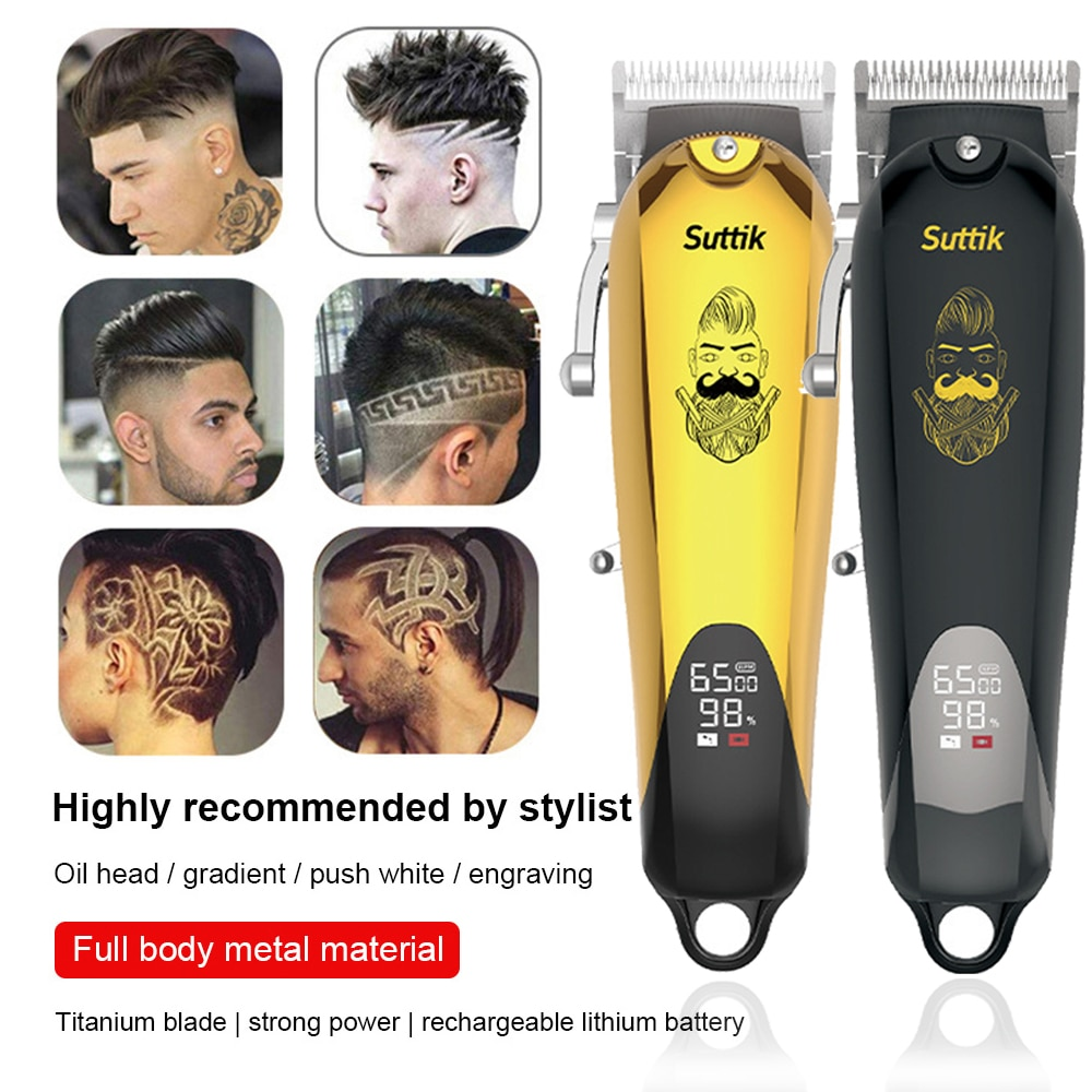 LCD Professional Barber Hair Clipper Mover High Power Trimmer Shaver Men's Haircut Tools Hair Cutting Machine Multi Comb enlarge
