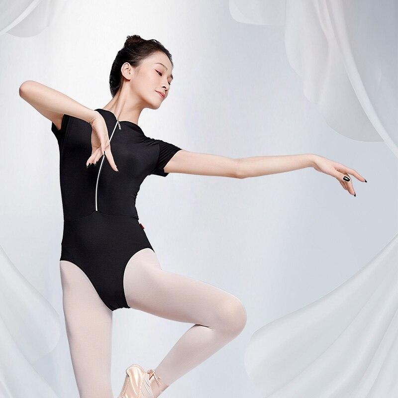 Leotardos de Ballet para traje de baile femenino, ropa negra de bailarina para adultos, Ropa de baile con cremallera y cuello alto de leotardo de manga corta