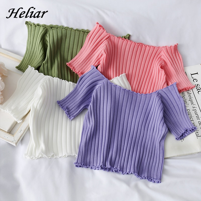 HELIAR Women T-shirts Off Shoulder Knitting Crop Tops Women Short Sleeve Stretchy Ruffles Hem t-shirts Stripes Tops For Women