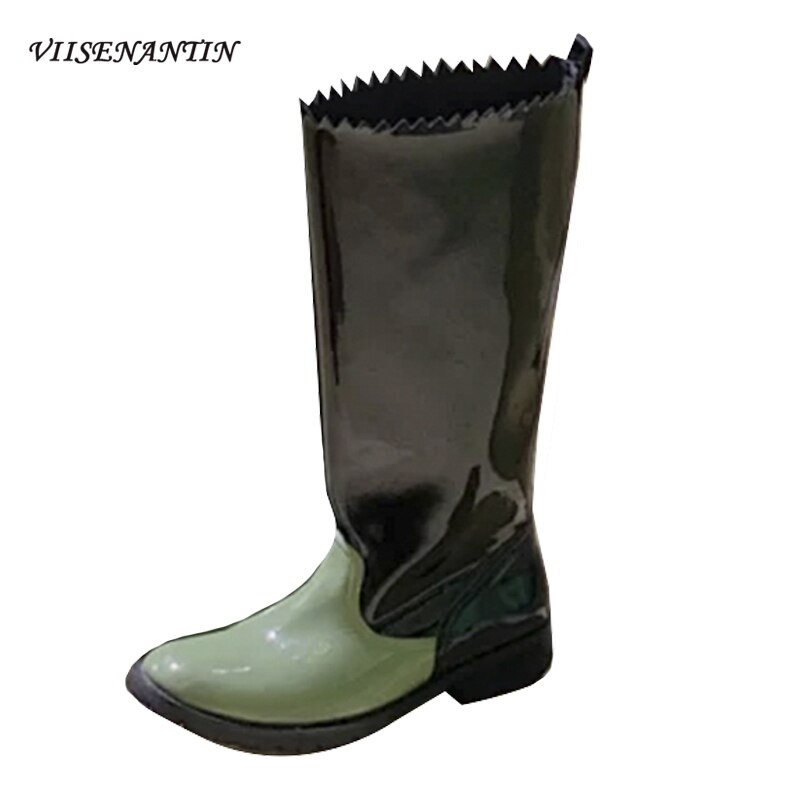 Automne hiver nouveau Style talon épais bout rond fleur dentelle couleur correspondant femmes mi-mollet bottes genou-longueur mince bottes droites