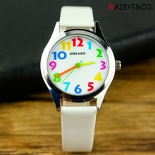 free shipping kids candy watch high quality children boys girls color no. scale dial pu leather wris