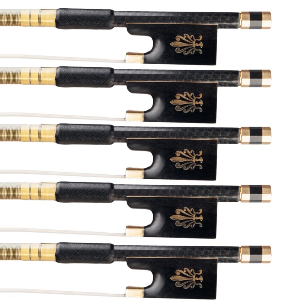 5pcs/1set Grid Carbon Fiber Violin Bow 4/4 w/ Ebony Frog White Horsehair Baroque Style Snakewood Frog Fast Response Nice Tone enlarge