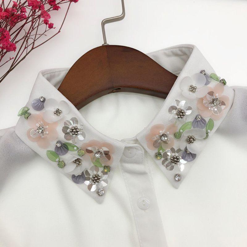 Mujeres desmontable cuello falso de blusa hecha a mano cuentas de diamantes de imitación lentejuelas flor solapa ajustable media camisa collar F3MD