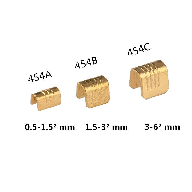 100 Uds 1-2 mm2 conectores de prensado en frío de Terminal de alambre de cobre para Terminal de lengüeta de Cable
