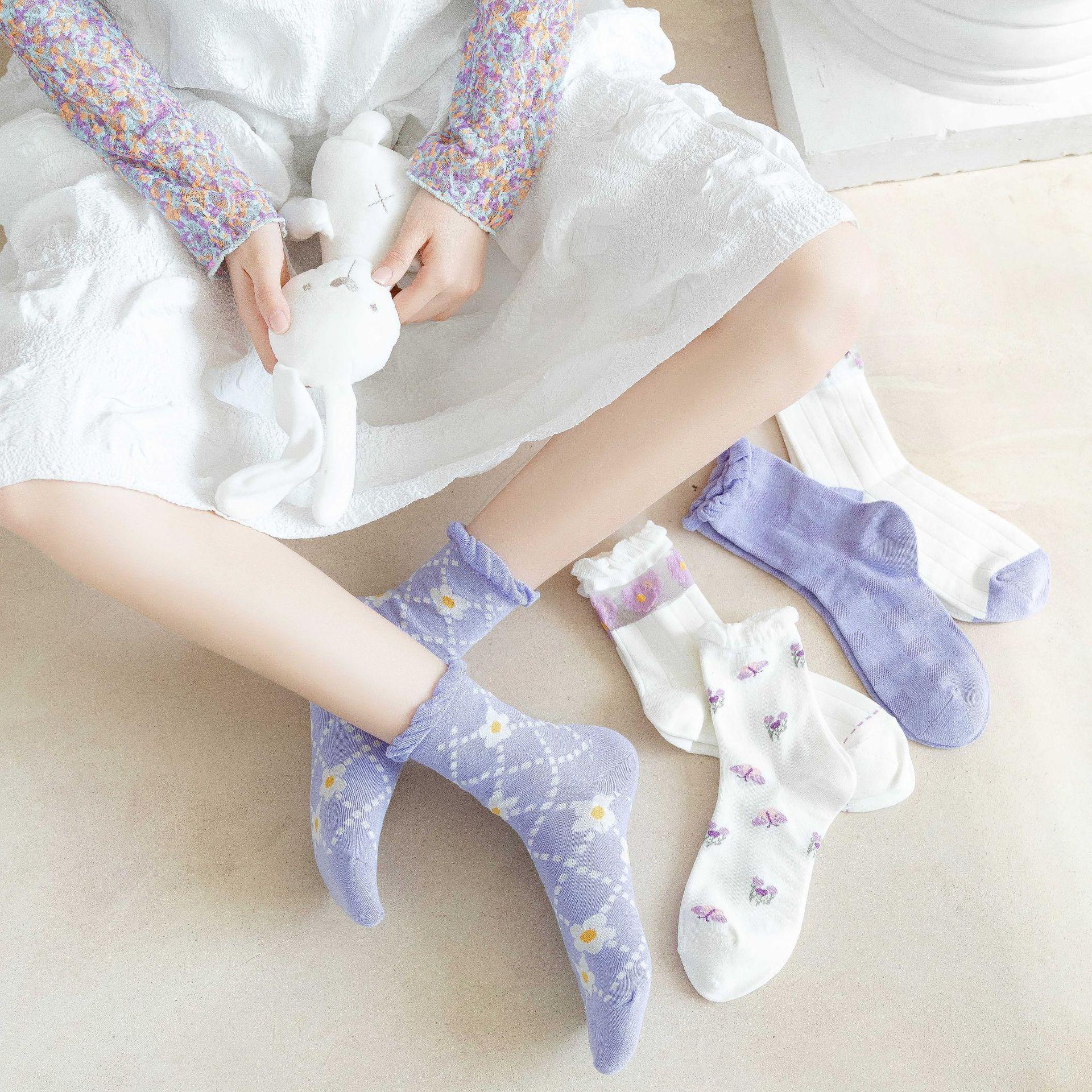 Spring and Summer Socks Female Fashion Trend Korean Cute Printing Fruit Socks Tube Socks Cotton Socks Personality Student Socks