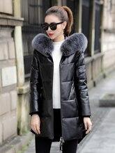 Grande taille 5XL 2020 hiver nouveau cuir cuir veste femmes peau de mouton moyen Long grande taille manteau de fourrure avec capuchon