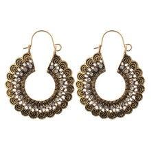 Модные ювелирные изделия Винтажные серьги богемные резные серьги с бриллиантами вращающийся вырез кристалл Роскошные женские серьги