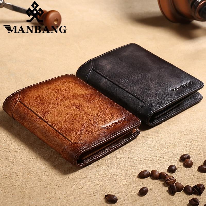 ManBang 2020 حار جلد أصلي للرجال محفظة صغيرة حامل بطاقة صغيرة الذكور محفظة جيب ريترو محفظة عالية الجودة