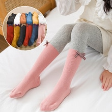 Spring autumn Girls Baby patchwork Tights cotton Children bow Stocking kids cute pantyhose for girls