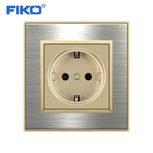FIKO EU Standard Wall Socket Luxury Power Outlet Stainless Steel Brushed Silver Panel Electrical Plug