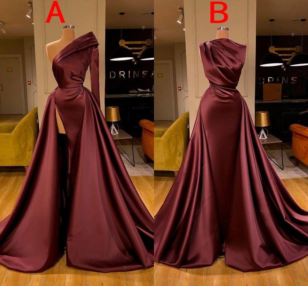 Burgundy Mermaid Prom Dresses One Shoulder Satin High Side Split Floor Length Formal Dress Evening Gowns robe de soiree vestidos burgundy side pockets one shoulder mini dress