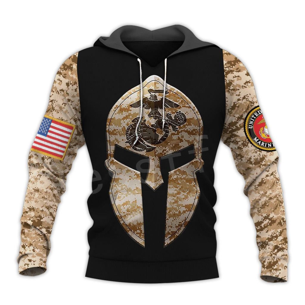 Tessffel America Marine Camo Skull Pullover Soldier Army NewFashion Harajuku 3DPrint Zip/Hoodie/Sweatshirt/Jacket/Men/Women B-8 men zip camo hooded jacket