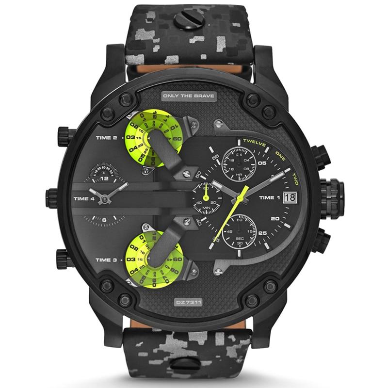 Luxury brand DZ 7311 men's watch fashion style dress wristwatches leather Camouflage strap quartz du