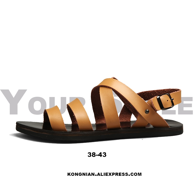Summer 2020 New Sandals Men Fashion Genuine Leather Rome Style Casual Beach Outside Shoes Rubber Waterproof Non-Slip Breathable