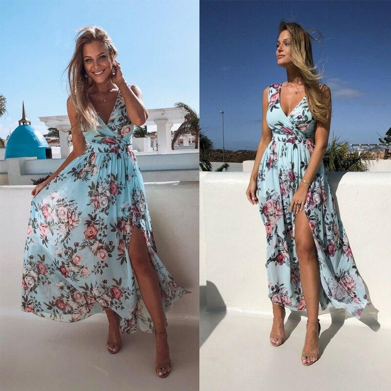 Women Boho Dress Blue Floral Printed Long Maxi Dress Deep V-neck Summer Beach Evening Party Sundress Sleeveless Dresses Vestidos