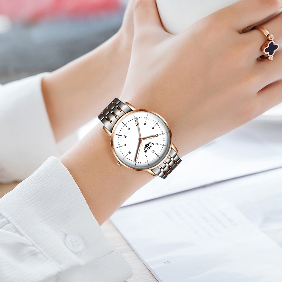 LIGE 2021 New Gold Watch Women Watches Ladies Creative Steel Women's Bracelet Watches Female Waterproof Clock Relogio Feminino enlarge