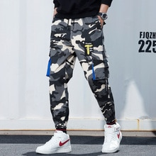 Harajuku Mens Camouflage Jogger Pants Cotton Hip Hop Multi-pocket Cargo Pants Male Fashion Tide Harem Trousers Casual Streetwear