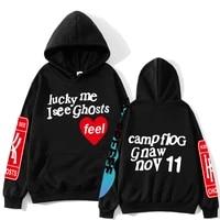 kanye west graffiti letter print heavyweight sweatshirt lucky me i see ghosts men hoodie hip hop hooded hoodies