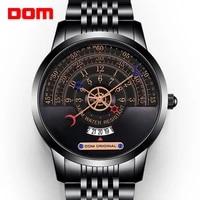 dom mens multi function quartz watch waterproof calendar high quality metal black gold has a unique style m 11bk