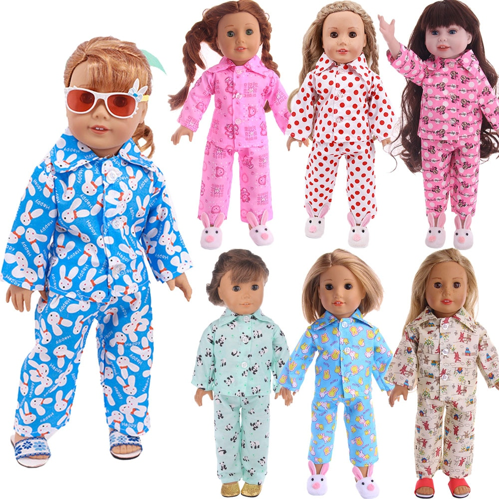 Animal Polka Dot Pajamas Doll Clothes For 18 Inch American Doll  Girl&43Cm Born Baby  Doll,Our Generation Girl's Christmas Gifts doll accessories cute pajamas nightgown clothes for 18 inch american girl boy doll our generation