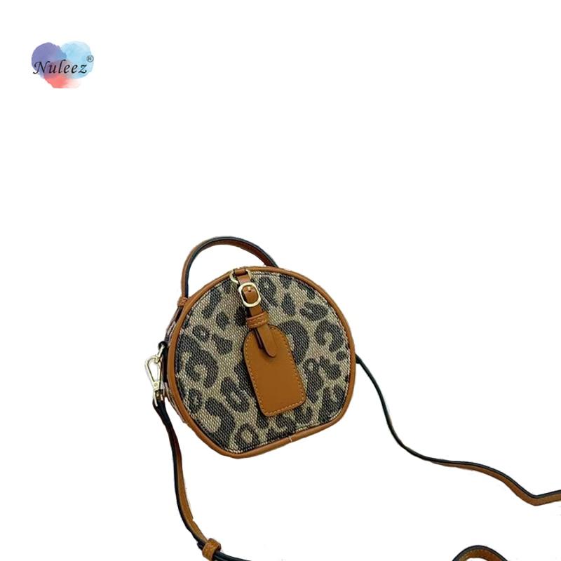Mini Leopard Circular Bag Women Cross-Body Fashion Zipper Handbag Cute for Mobile Phone and Keys Daily Clutch Gift Girls New