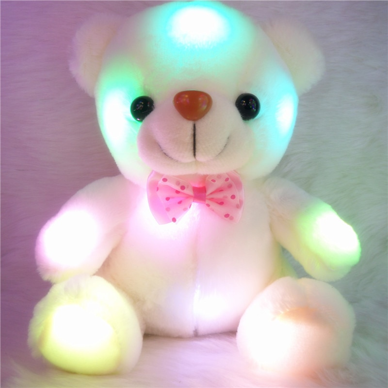 Luz led RGB seat pink bowtie, juguete de conejito de oso de peluche con luz intermitente, juguete led, regalo de cumpleaños