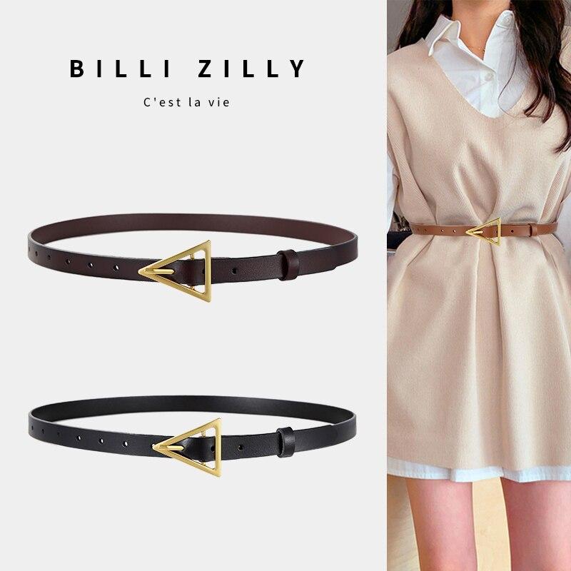 New Style Triangle Buckle Thin Belt Women's Decorative Dress Korean Fashion Style Matching Jeans Belt Simple Tren