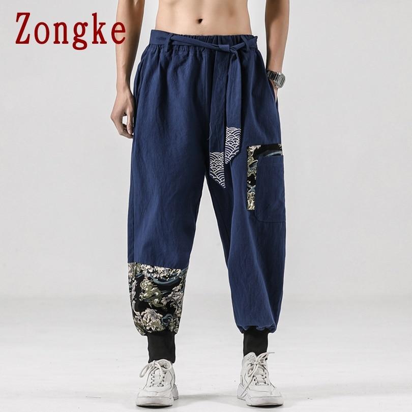 Zongke عادية سراويلي حريمي الرجال الملابس ركض اليابانية الشارع الشهير الكتان الرجال السراويل بنطلون الهيب هوب M-5XL 2021 جديد