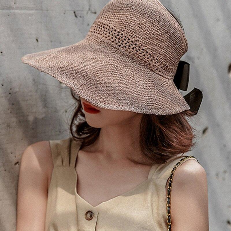 Nueva visera de paja para verano para mujer, gorra con visera sin cabeza enrolladas, sombrero de ala ancha para playa, triangulación de envíos