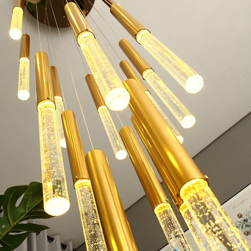 Modern Led Chandeliers Lighting for Living room Staircase golden Long hanging lamp Hallway Lobby Chain Decor Light