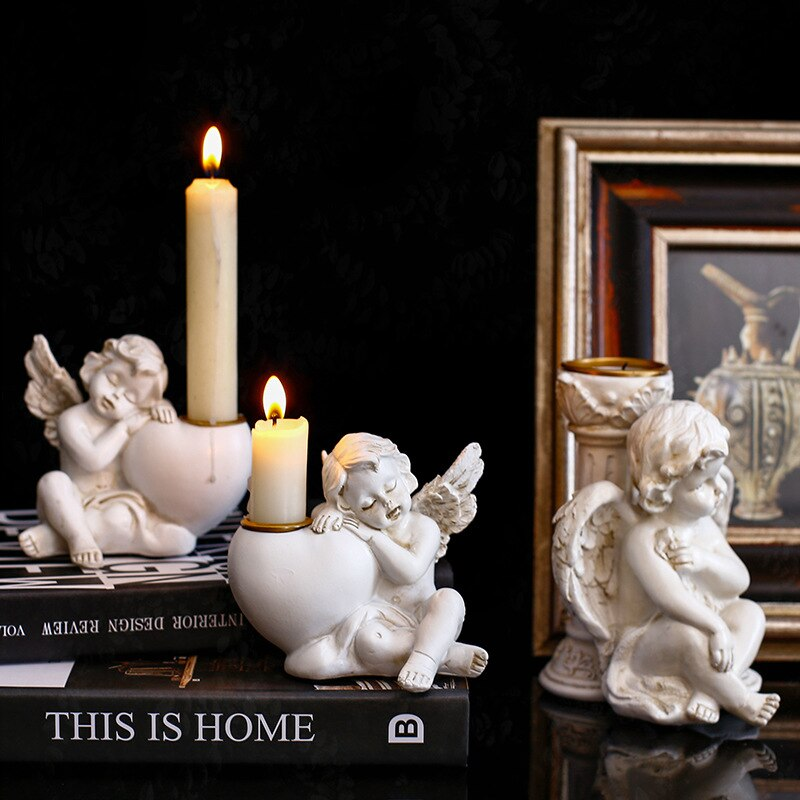Candelabro De Ángel De resina Retro europeo, adornos De decoración De Cupido,...
