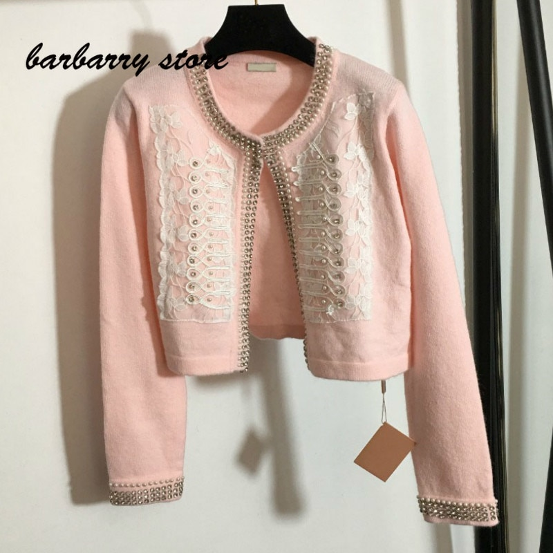 21 luxury brand Vintage Lace embroidery printing fashion women's versatile heavy industry diamond studded long sleeved cardigan
