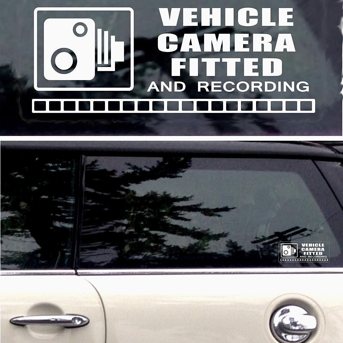 Pegatinas de advertencia para espejo, 1 par, grabación de videocámara CCTV, ventana de vehículo, vinilo, envoltura para coche, decoración, pegatinas para Estilismo de coche