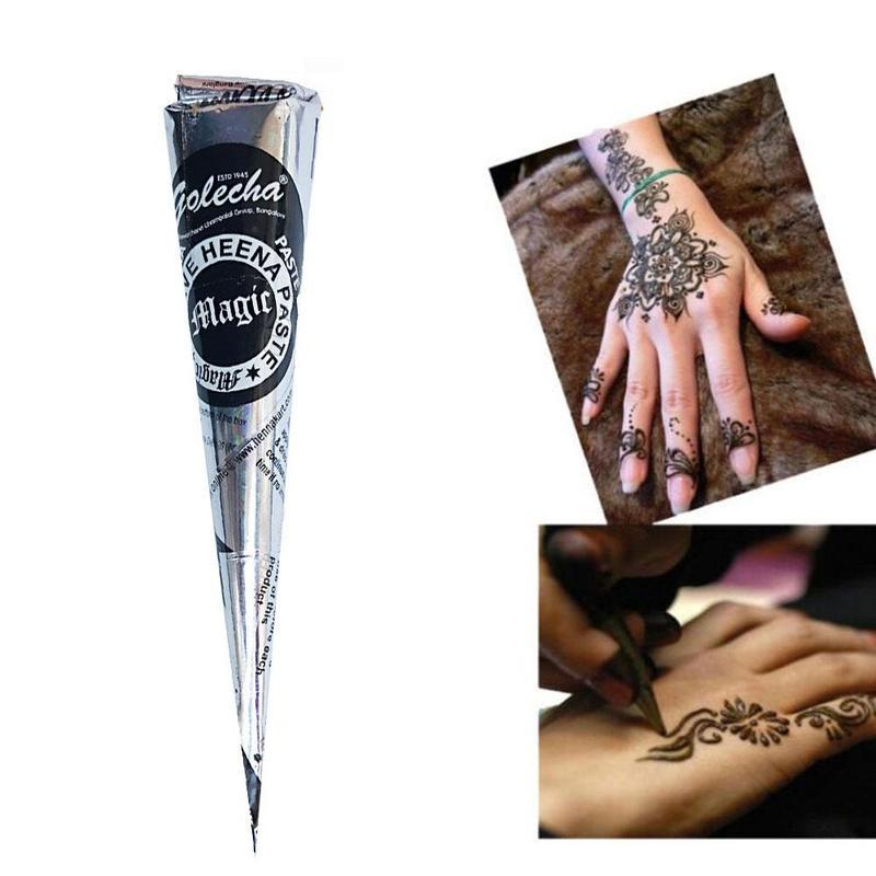 Cones para tatuagem de henna, arte corporal, adesivo, pintura corporal mehndi natural, marrom