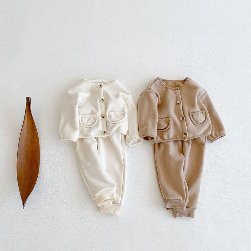 2-Pieces Newborn Baby Clothing Set Solid Color Plus Velvet Jacket + Pants Winter Warm Suit Long-sleeved Baby Girls Boys Clothes