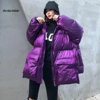 2021 winter thick women jacket cotton padded warm girls loose fit hooded parka female big pockets coat short style irregular hem