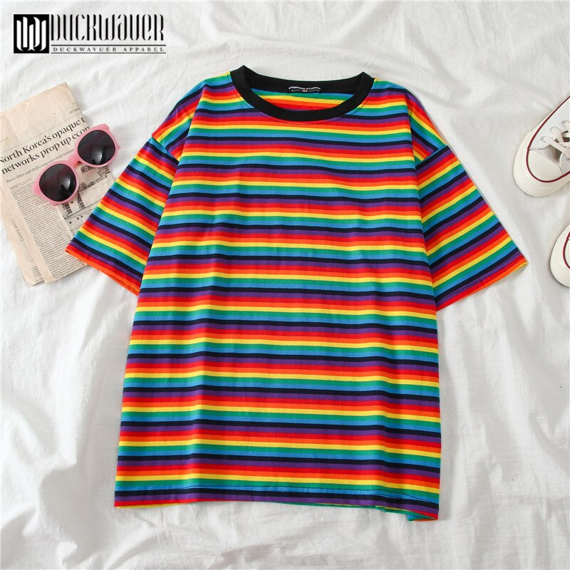 Duckwaver dulce rayas del arco iris mujeres verano camiseta minimalista de manga corta mujeres ropa tapas de moda camiseta pareja ropa