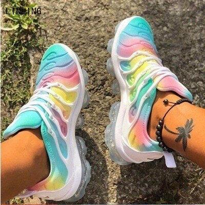 2021 Women Running Sneakers Woman Fashion Rainbow Outdoor Walk Shoes Ladies Lace Up Vulcanized Platf
