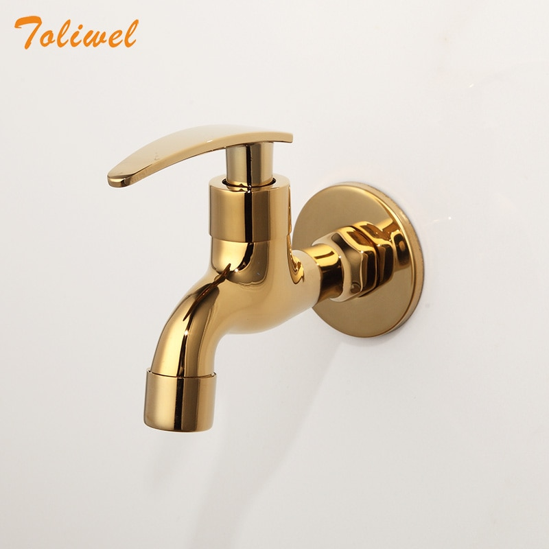 Laundry Bathroom Wetroom Faucet Wall Mount Cold Water Faucet Sink Tap Spigot Bibcocks Water tap Gold Color 1pc plastic water dispenser tap thread dia bottled water dispenser spigot faucet bibcocks